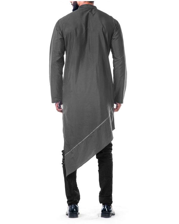 Grey  asymmetrical hemline embroidered kurta set 1