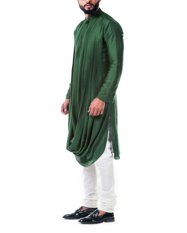Green double cowl kurta set 2