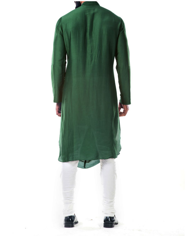 Green double cowl kurta set 1