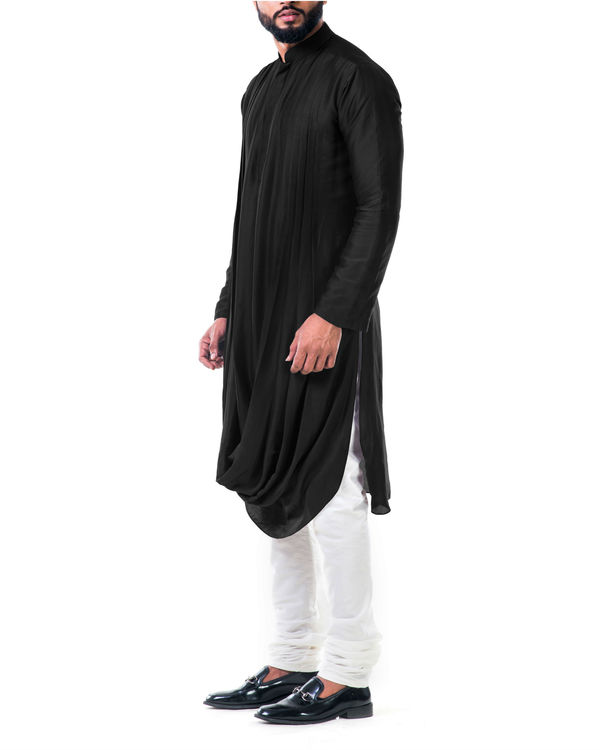 Black double cowl kurta set 1