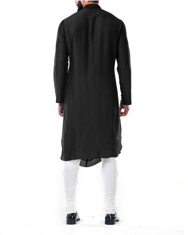 Black double cowl kurta set 2
