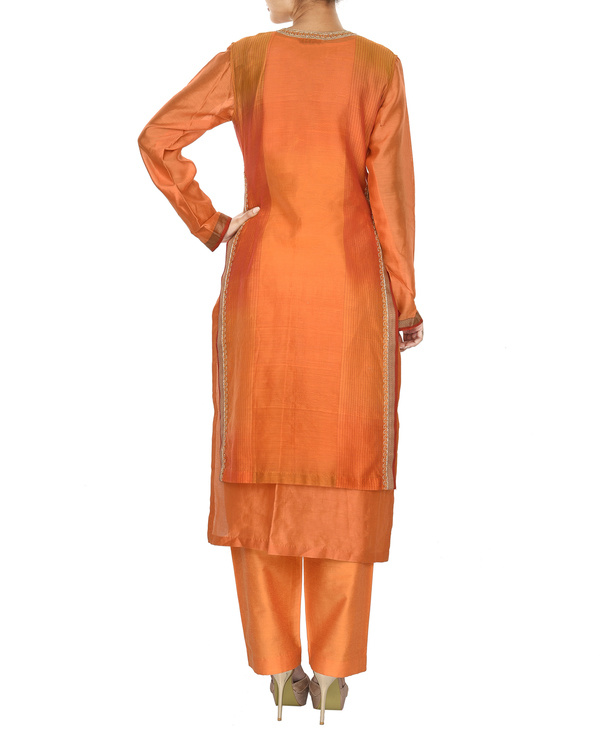 Guldasta orange chanderi layered kurta set 1