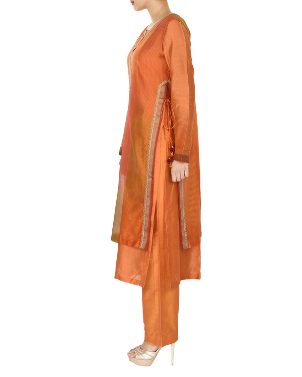 Guldasta orange chanderi layered kurta set 2