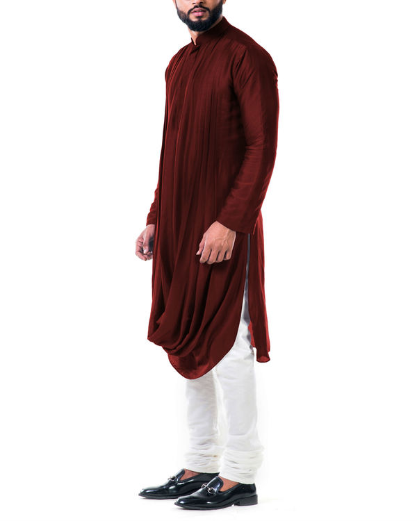 Maroon Double Cowl Kurta Set 2