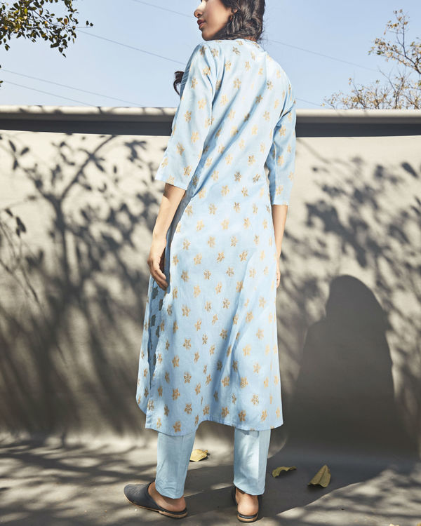 Powder blue pleated kurta 2