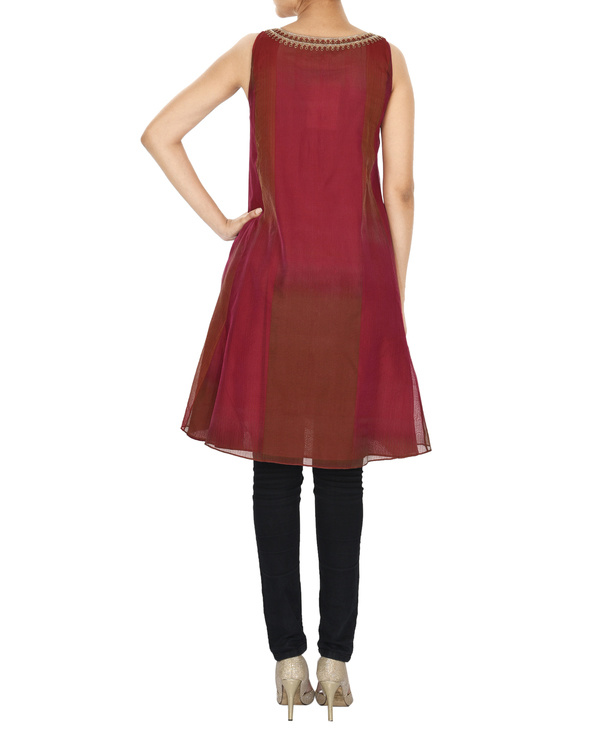 Guldasta deep red tonal chanderi a-line tunic 1
