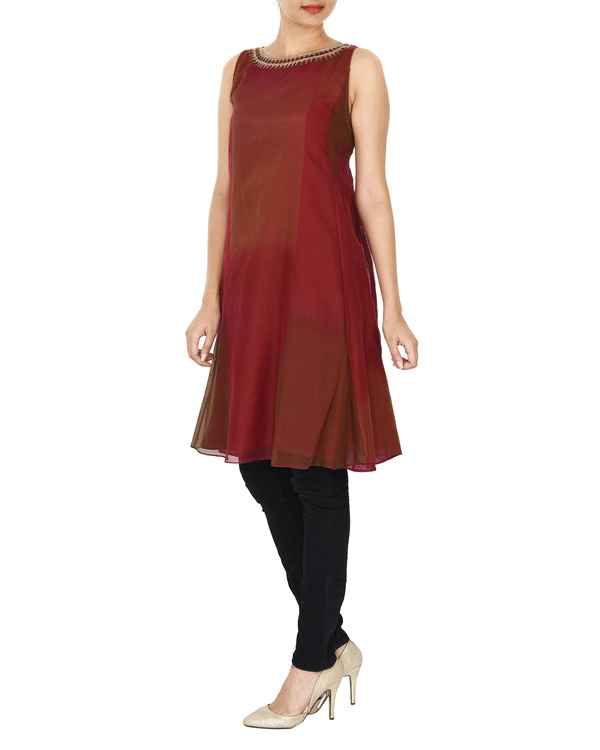 Guldasta deep red tonal chanderi a-line tunic 2