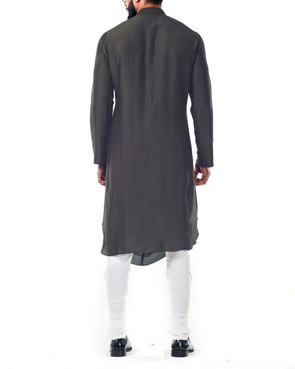 Grey double cowl kurta set 1