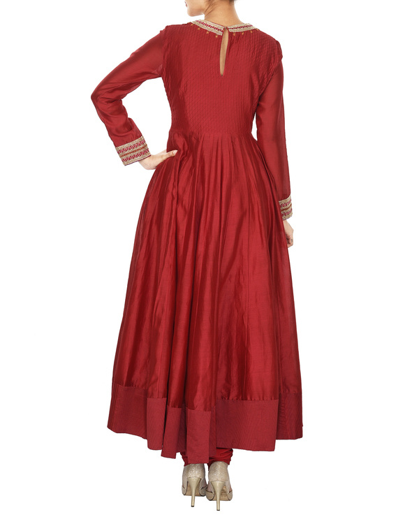 Guldasta deep red chanderi anarkali set 1