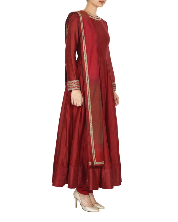 Guldasta deep red chanderi anarkali set 2