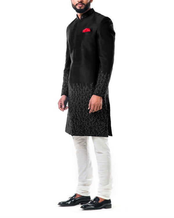 Black hand embroidered thread work sherwani set 1