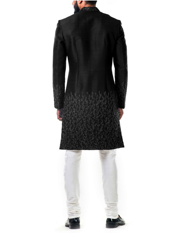Black hand embroidered thread work sherwani set 2