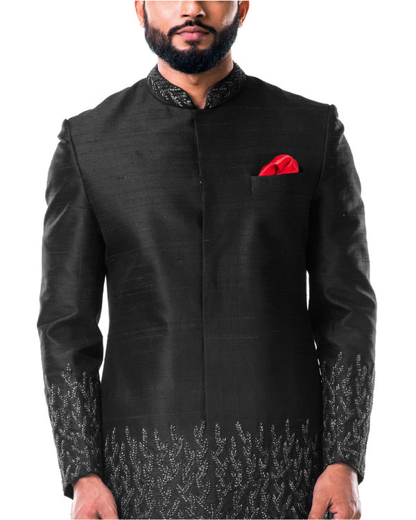Black hand embroidered thread work sherwani set 1