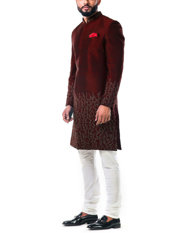 Maroon hand embroidered thread work sherwani set 3