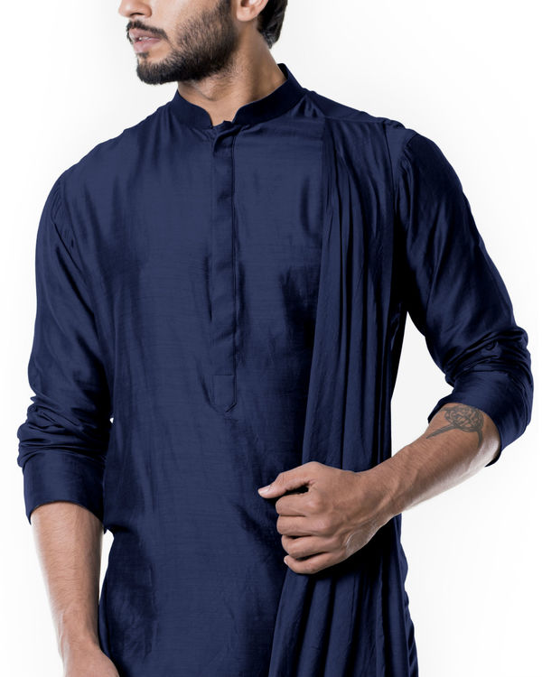 Navy blue cowl kurta set 3