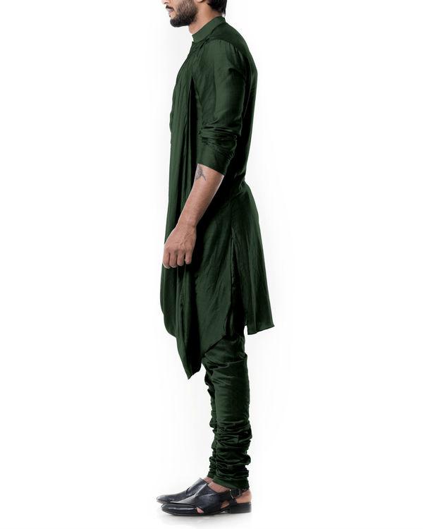 Forest green cowl kurta set 1