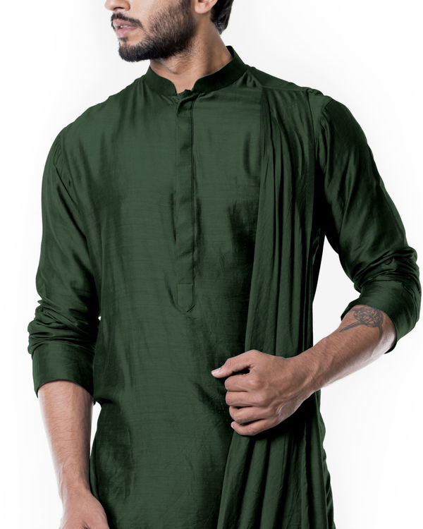 Forest green cowl kurta set 3