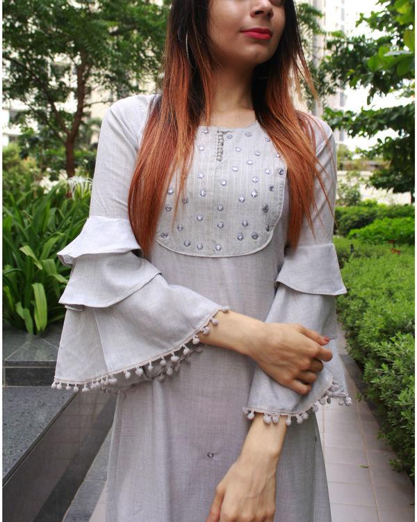 Grey frill dress 1