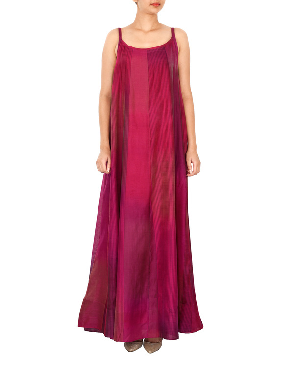 Magenta crop top with tonal purple a line gown 1