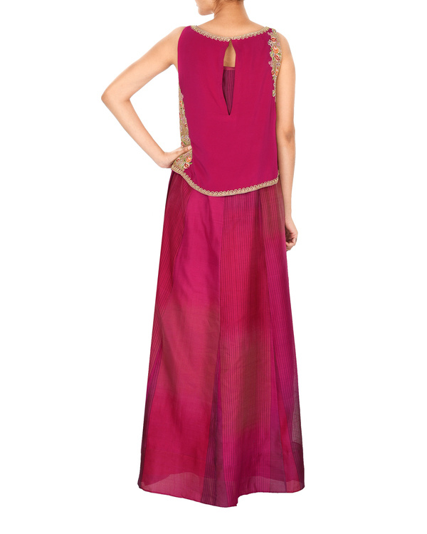 Magenta crop top with tonal purple a line gown 2