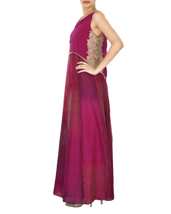 Magenta crop top with tonal purple a line gown 3