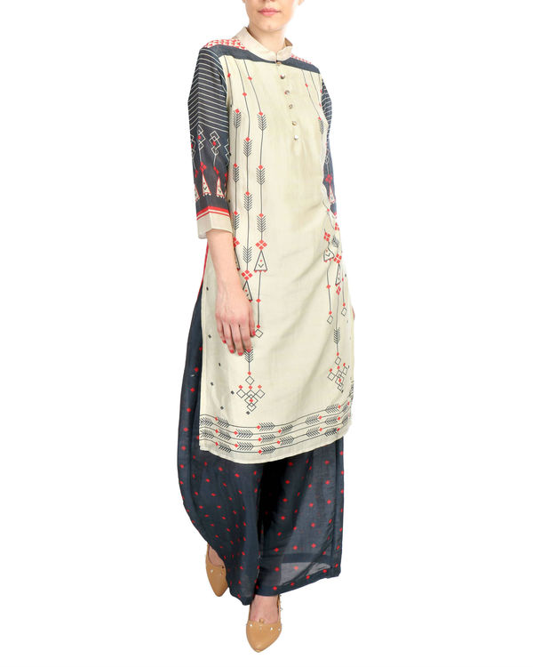 Beige And Black Chanderi Set 1