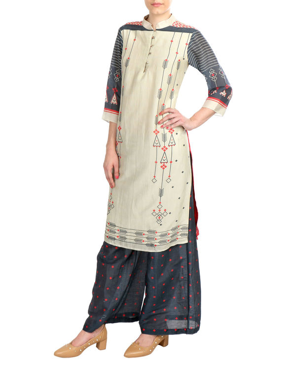 Beige And Black Chanderi Set 2