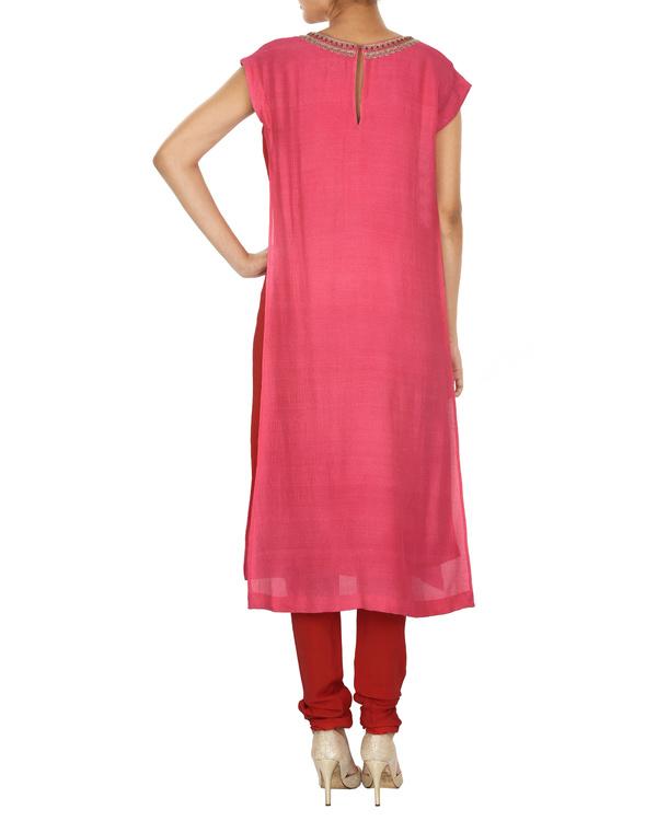 red & pink tussar georgette overlap kurta set 1