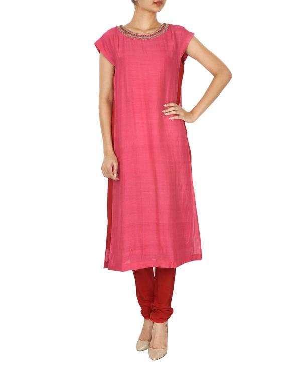 red & pink tussar georgette overlap kurta set 2