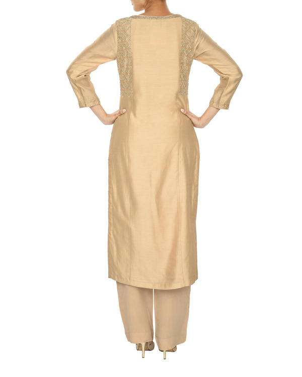 Trikon nude chanderi  straight kurta set 1