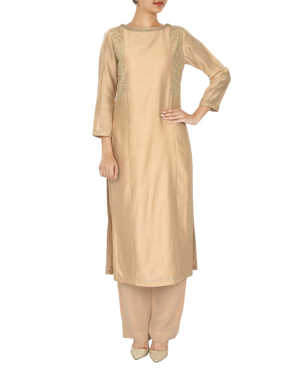 Trikon nude chanderi  straight kurta set 2