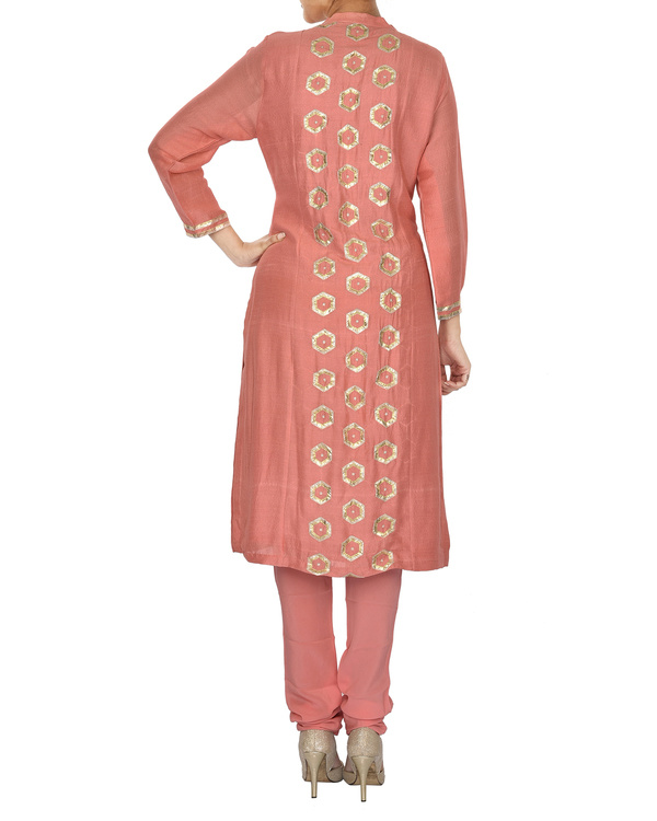 The flowering lattice peach chanderi front panel straight kurta set 1