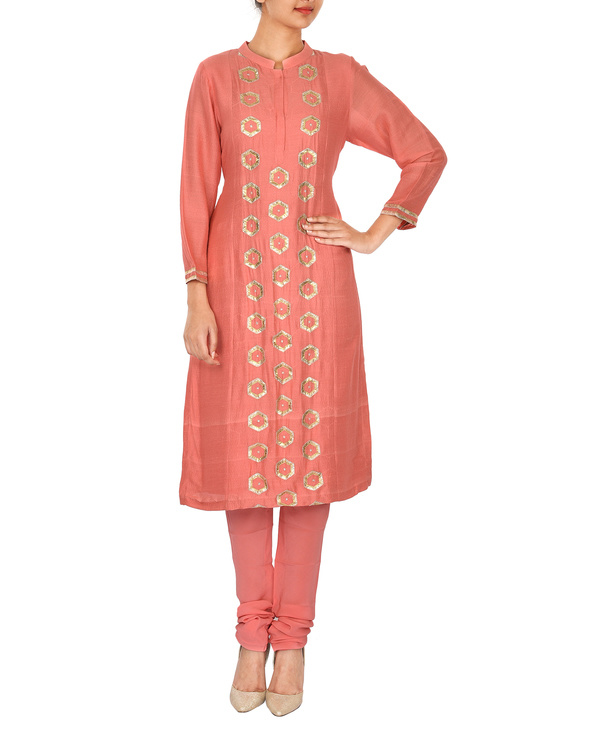 The flowering lattice peach chanderi front panel straight kurta set 2