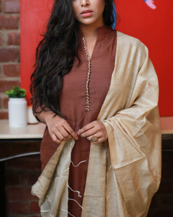 Brown kurta with Off White pants and dupatta 1
