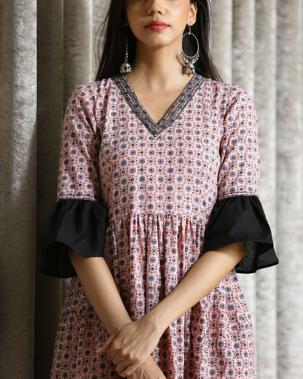 Pink and black frill maxi 1