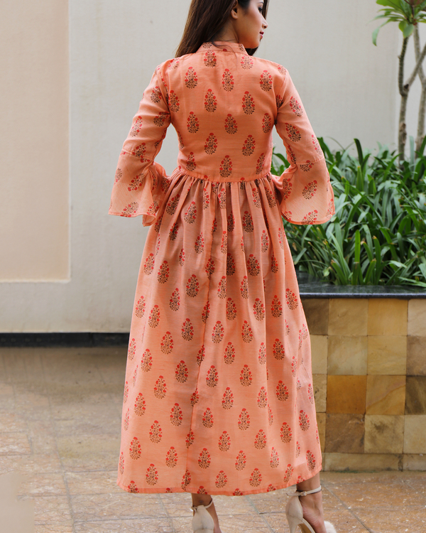 Peach chanderi floral dress 2
