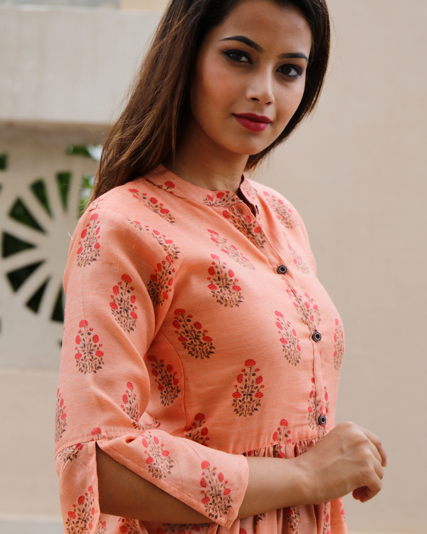 Peach chanderi floral dress 1