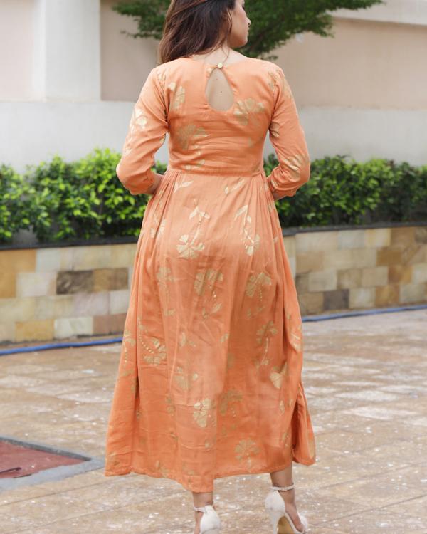 Tangerine foil printed dress 1