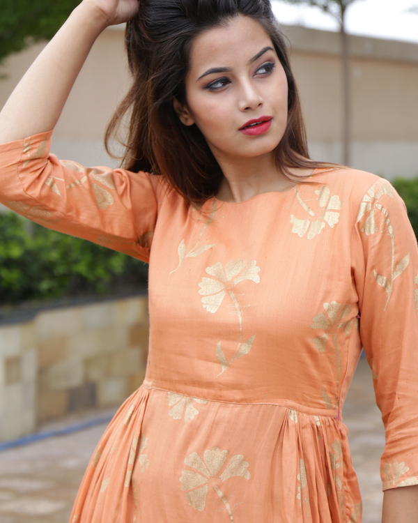 Tangerine foil printed dress 2