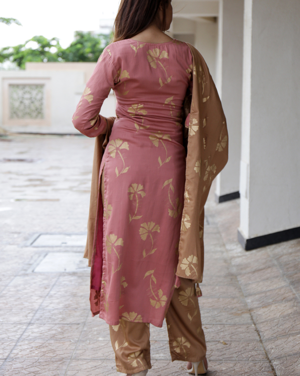 Deep peach kurta set 1
