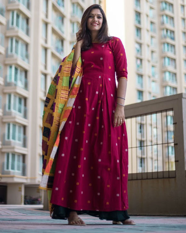 Red Dress With Patch Dupatta 1