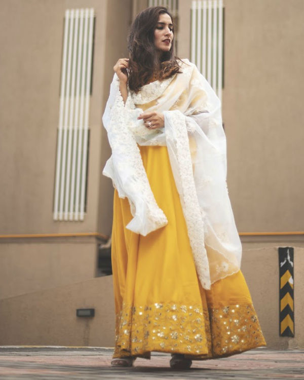 Golden Yellow Dress with Dupatta 1