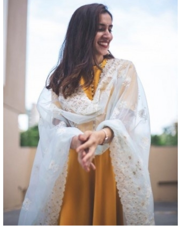 Golden Yellow Dress with Dupatta 3