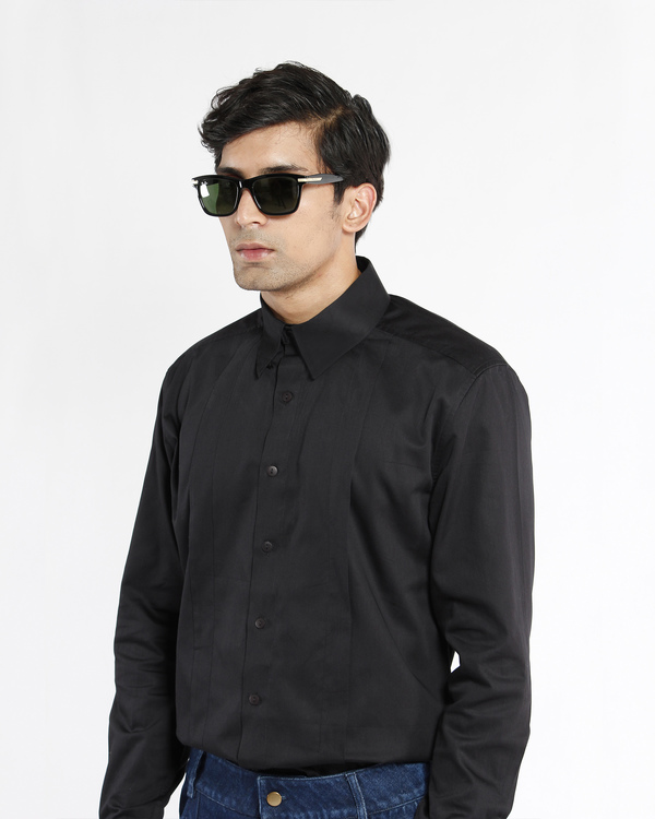 Black cotton satin pleated shirt 2