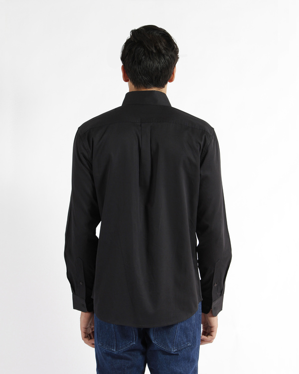 Black cotton satin pleated shirt 1