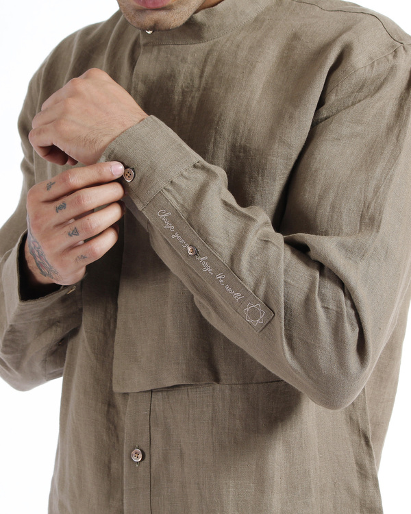 Olive khaki linen embroidered tunic shirt 4