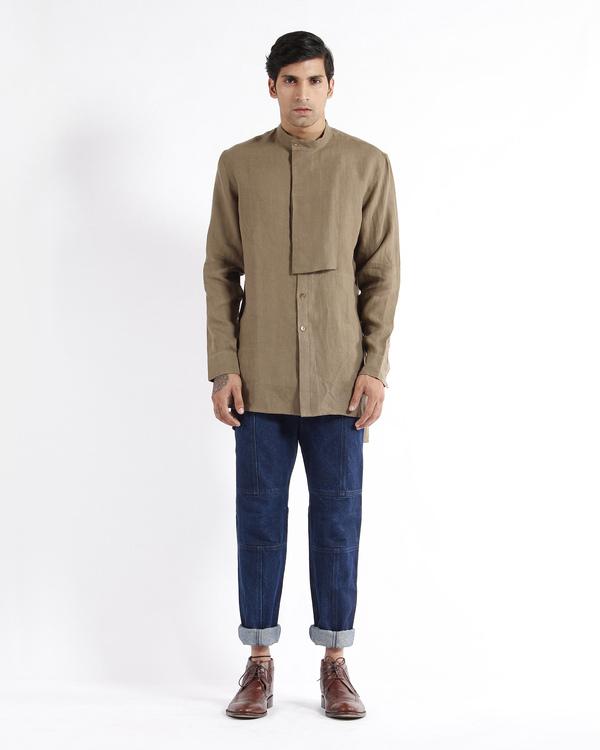 Olive khaki linen embroidered tunic shirt 3