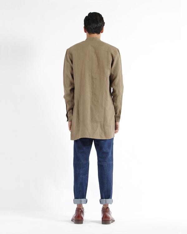 Olive khaki linen embroidered tunic shirt 2