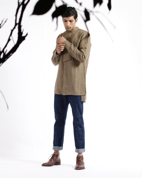 Olive khaki linen embroidered tunic shirt 1