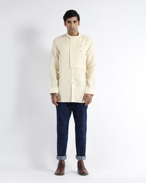 Off white linen embroidered tunic shirt 4